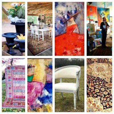 Auktion Dany's Home Emilia Linderholm möbler konst trädgård gjutjärnsurnor gjutjärn baljfåtölj